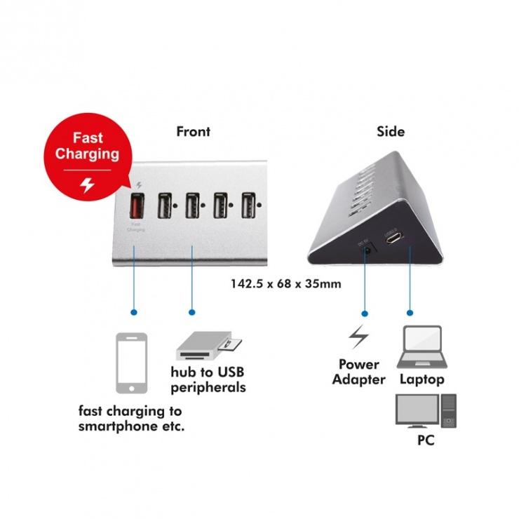 Imagine HUB cu 10 porturi USB 2.0 + 1 x Fast Charging, Logilink UA0226