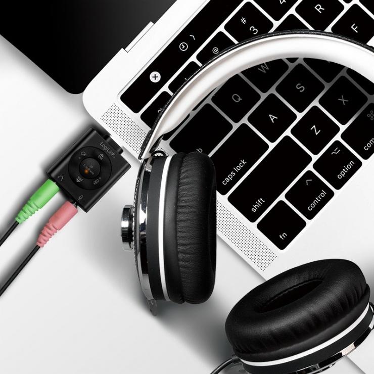 Imagine Adaptor USB-C la 2 x jack stereo 3.5mm 96KHz volum/microfon/mute T-M, Logilink UA0365