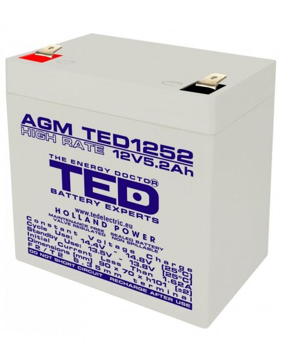 Imagine Acumulator pentru UPS AGM VRLA 12V 5.2A, TED1252
