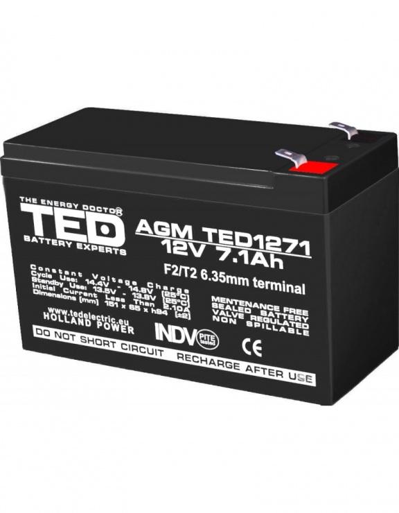 Imagine Acumulator pentru UPS AGM VRLA 12V 7.1A, TED1271F2