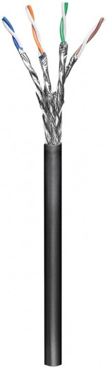 Imagine Rola cablu de retea RJ45 exterior S/FTP (PiMF) cat. 6 100m Negru, Goobay G77624