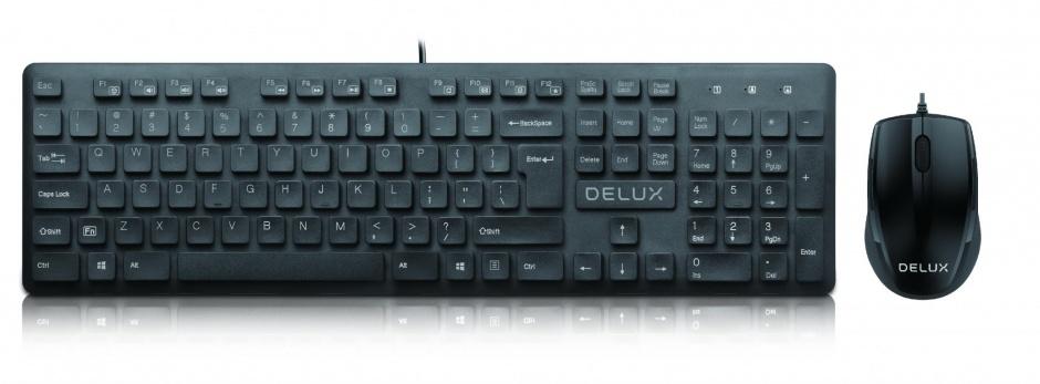 Imagine Kit tastatura + mouse USB Negru, Delux KA150U+M321BU