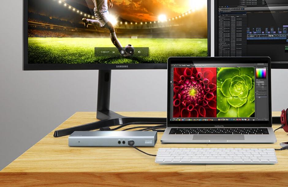 Imagine Docking station USB-C la HDMI, Displayport, RJ45 Gigabit, 3 x USB 3.1, 1 x USB-C PD (Power Delivery)