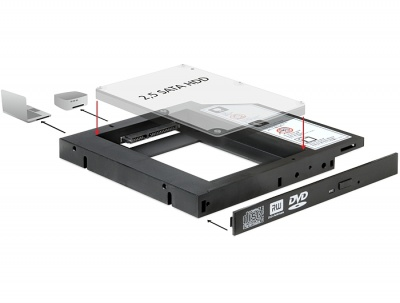 "Imagine Installation Frame (Caddy) Slim SATA 5.25 pentru 2.5"" SATA HDD 12.5mm, Delock 61993"