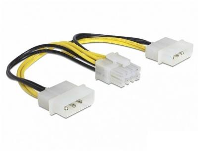 Imagine Cablu de alimentare EPS 8 Pini la 2 x Molex 4 pini 15cm, Delock 83410