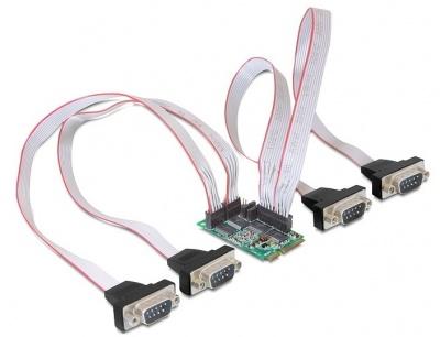 Imagine Mini PCIe I/O PCIe full size 4 x serial RS-232 cu Power Management, Delock 95001