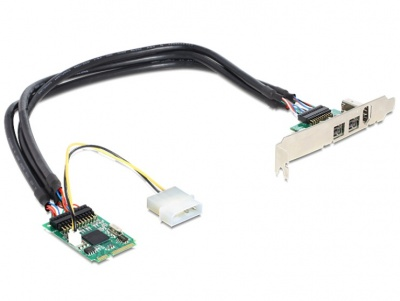 Imagine Mini PCIe I/O PCIe full size 1 x FireWire A, 2 x FireWire B, Delock 95236