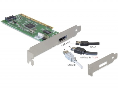 Imagine Placa PCI cu 1 port extern eSATA si 1 port intern SATA, Delock 89238