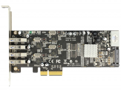Imagine PCI Express Card cu 4 x USB 3.0 externe Quad Channel, Delock 89365