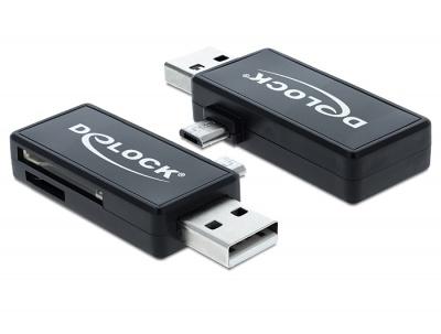 Imagine Cititor de carduri micro USB OTG + USB tip A, Delock 91731