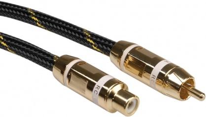 Cablu GOLD prelungitor audio RCA alb T-M 10m, Roline 11.09.4295