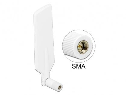Antena LTE WLAN Dual Band SMA 1 ~ 4 dBi omnidirectional rotabil alb, Delock 12430