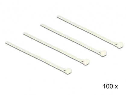 Set 100 bride reutilizabile albe 200mm x 7.2mm, Delock 18639
