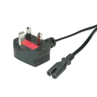 Cablu de alimentare UK la C7 2 pini 2.5A 1.8m Negru, Value 19.99.2017