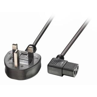 Cablu de alimentare UK la IEC C13 unghi 1m Negru, Lindy L30446