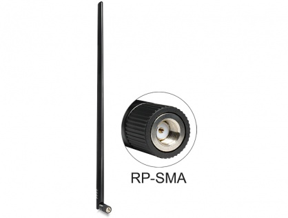 Antena WLAN 802.11 b/g/n RP-SMA plug 9 dBi omnidirectional with tilt joint Negru, Delock 88450