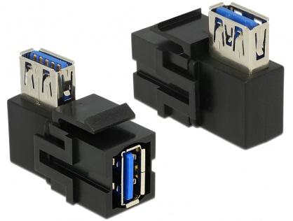 Modul keystone USB 3.0 A M-M unghi 90 grade negru, Delock 86360