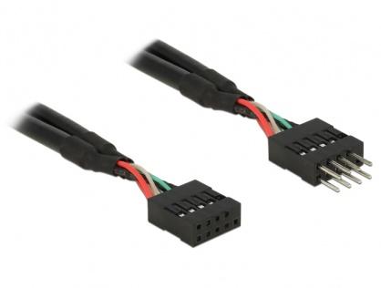Cablu prelungitor pin header USB 2.0 10 pini T-M 10cm, Delock 83872