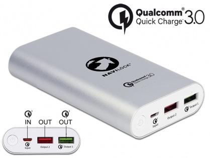 Power Bank 10200 mAh cu 2 x USB-A cu Qualcomm® Quick Charge 3.0, Navilock 41501