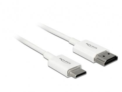 Cablu HDMI la mini HDMI-C T-T 3D 4K 3m Activ Slim Premium Alb, Delock 85145