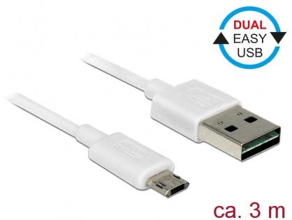 Cablu micro USB-B EASY-USB la USB-A 2.0 EASY-USB T-T 3m Alb, Delock 85204