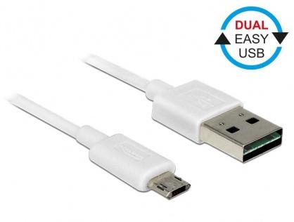 Cablu micro USB-B EASY-USB la USB-A 2.0 EASY-USB T-T 5m Alb, Delock 85205