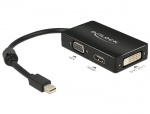 Adaptor mini Displayport la VGA / HDMI / DVI pasiv T-M Negru, Delock 62631
