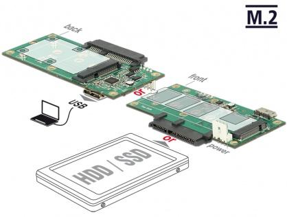 Convertor micro-B USB 3.1 la 1 x SATA / 1 x M.2 Key B / 1 x mSATA, Delock 62867
