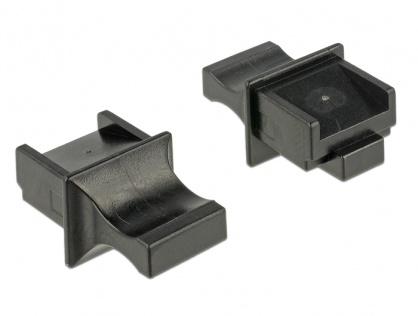 Protectie impotriva prafului pentru conector RJ45 cu prindere Negru set 10 buc, Delock 64020