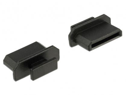 Protectie impotriva prafului pentru conector mini HDMI-C cu prindere Negru set 10 buc, Delock 64027