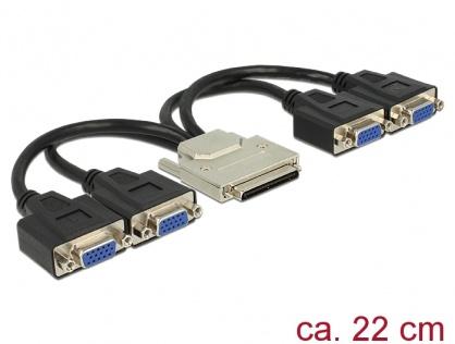 Adaptor VHDCI-68 pini la 4 x VGA T-M 22cm, Delock 65647