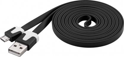 Cablu date si incarcare USB la micro USB-B Flat Negru 2m, Goobay W68796