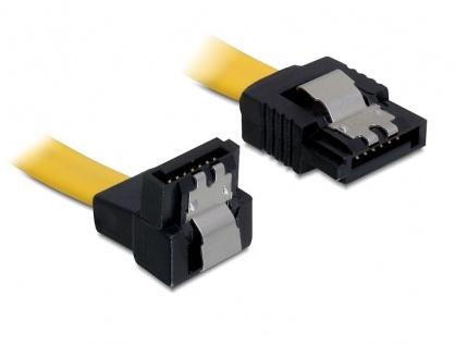 Cablu SATA II 3 Gb/s jos/drept 30cm galben, Delock 82474
