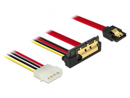 Cablu de date + alimentare SATA 22 pini 6 Gb/s cu clips la Molex 4 pini + SATA 7 pini unghi jos/drept 30cm, Delock 85231