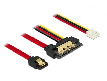 Cablu de date + alimentare SATA 22 pini 6 Gb/s cu clips la Floppy 4 pini mama + SATA 7 pini 30cm, Delock 85234