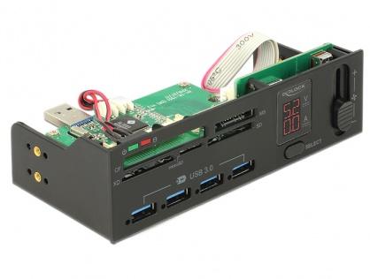 "Cititor de carduri USB 5.25"" 5 sloturi + 4 porturi USB 3.0 incl. indicator V/A si fan control, Delock 91494"