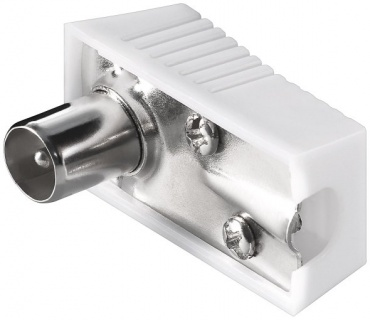 Conector tata unghi 90 grade pentru antena TV (coaxial) alb 75 Ohm