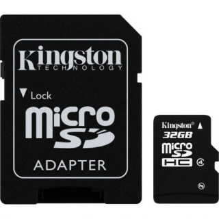 Card de memorie micro SDHC + adaptor 32GB clasa 4, KINGSTON SDC4/32GB