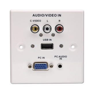 Priza perete frontala audio - video (VGA, USB, Jack stereo, RCA), Lindy L60222