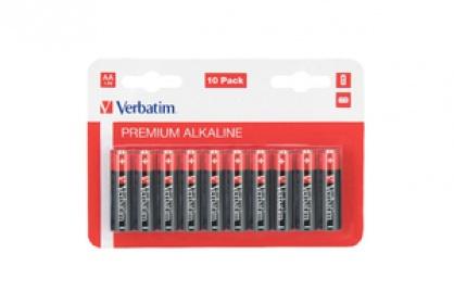 Set 10 baterii AA LR6 alcaline, Verbatim 49875