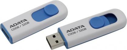 Stick USB 2.0 retractabil C008 32GB Alb/Bleu, ADATA