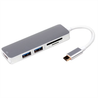 Docking station USB tip C la 4K HDMI, 2 x USB 3.0, 1x SD/MicroSD, Roline 12.02.1041