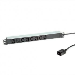 """Prelungitor PDU 19"""" C20 3600W la 8 prize IEC320 C13 Aluminiu 2m, Roline 19.07.1627"""
