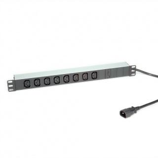 """Prelungitor 19"""" PDU C14 la 8 prize IEC320 C13 siguranta 10A aluminiu 2m, Roline 19.07.1629"""