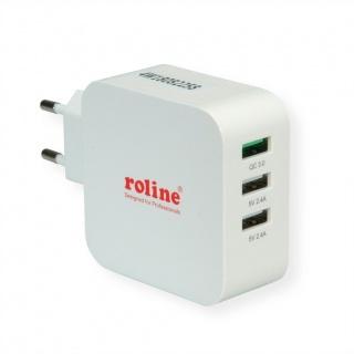 Incarcator priza 3 porturi USB (1 x Quick Charge/Incarcare rapida 3.0 3A + 2 x 5V/2.4A) 36W, Roline 19.11.1033
