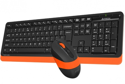 KIT tastatura + mouse wireless A4Tech Fstyler Negru/Orange, FG1010 Orange