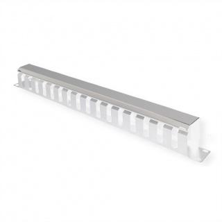 """Front Panel 19"""" 1U cu organizator pentru cabluri 40x40mm RAL7035 Gri deschis, Value 26.99.0301"""