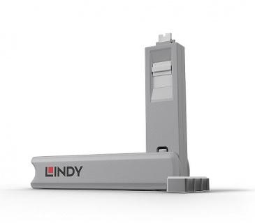 Set 4 bucati Port Blocker USB tip C/Thunderbolt 3 + cheie Alb, Lindy L40427