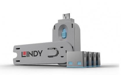 Sistem de blocare Port USB cheie + 4 incuietori Bleu, Lindy L40452