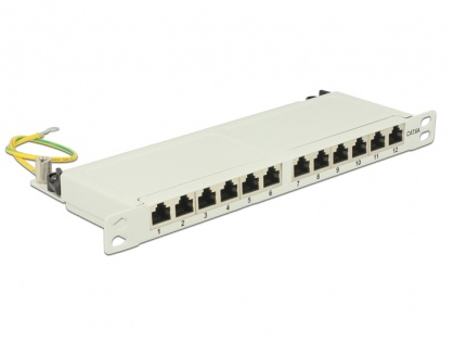 "Patch Panel 10"" 12 porturi Cat.6A 0.5U gri, Delock 43311"